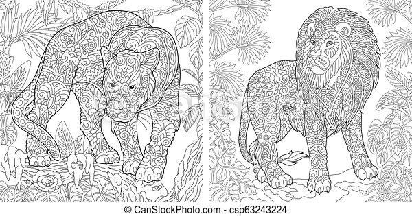 Páginas de color con pantera y león - csp63243224