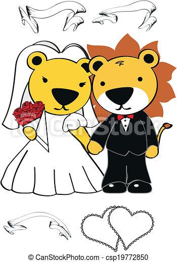 Boda de dibujos de leones - csp19772850