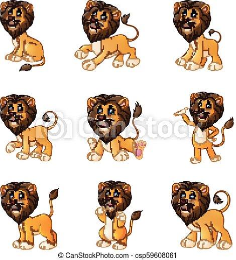 Colección de dibujos de leones - csp59608061