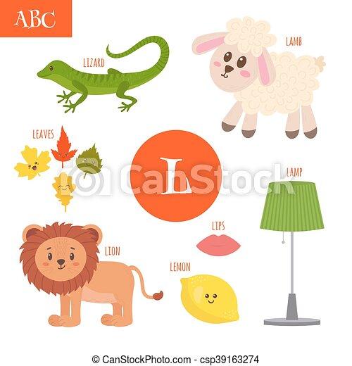 León, cordero, l., alfabeto, lámpara, hojas, labios, carta ...