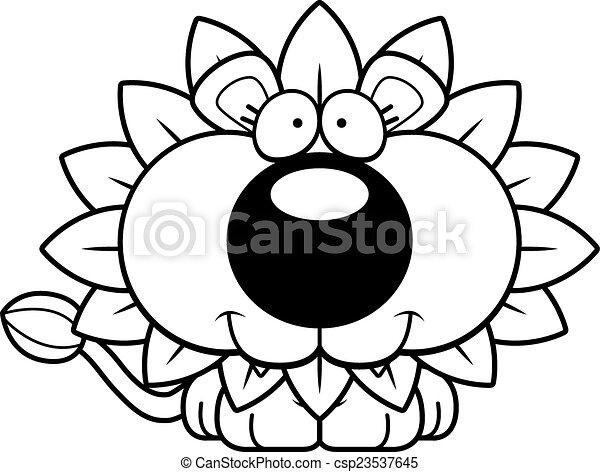 Un león de diente de león feliz - csp23537645