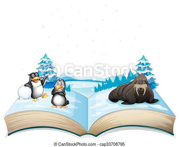 Libro de leones marinos y pingüinos sobre hielo - csp33708795