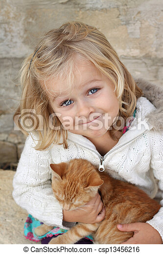 le, barn, kattunge - csp13456216