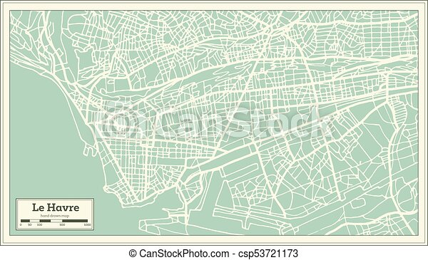 Le Havre France City Map In Retro Style Outline Map Vector
