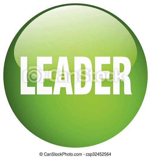 leader green round gel isolated push button - csp32452564