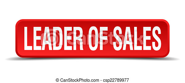 leader of sales red 3d square button isolated on white - csp22789977