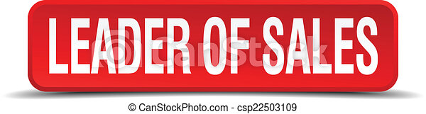 leader of sales red 3d square button isolated on white - csp22503109