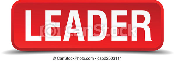 leader red 3d square button isolated on white - csp22503111
