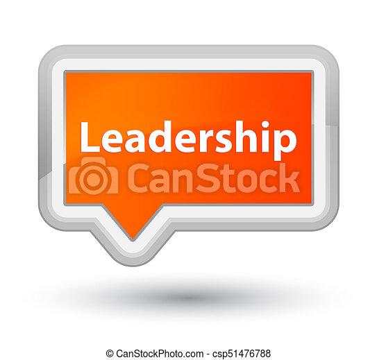 Leadership prime orange banner button - csp51476788