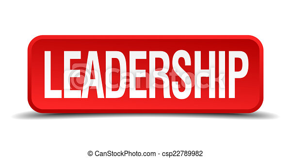 Leadership red 3d square button isolated on white - csp22789982