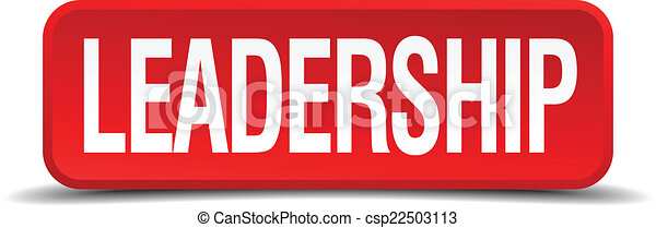 Leadership red 3d square button isolated on white - csp22503113