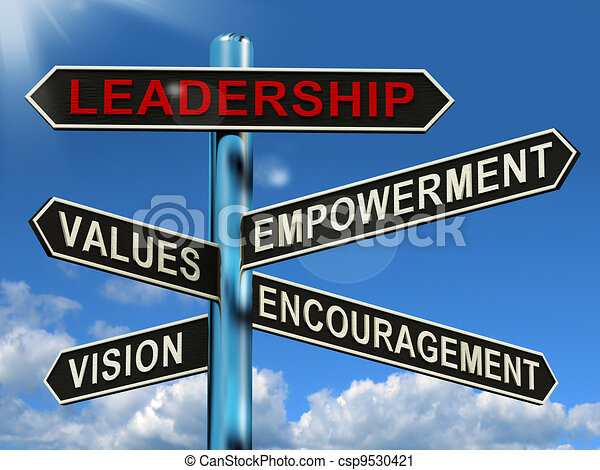 Leadership Signpost Shows Vision Values Empowerment and Encouragement - csp9530421