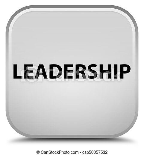 Leadership special white square button - csp50057532