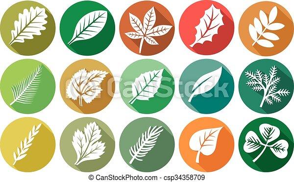 leaf flat icons set (leaves icons) - csp34358709