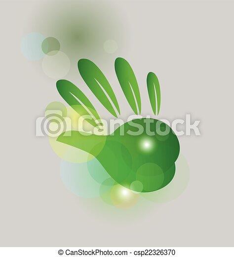 Leaf green hand bubbles bokeh logo - csp22326370