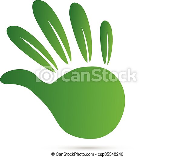 Leaf green hand logo - csp35548240