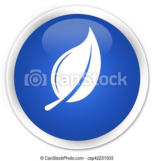 Leaf icon blue glossy round button - csp42231503