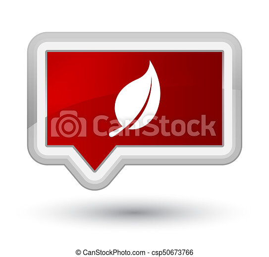 Leaf icon prime red banner button - csp50673766