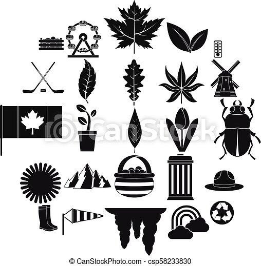 Leaf icons set, simple style - csp58233830