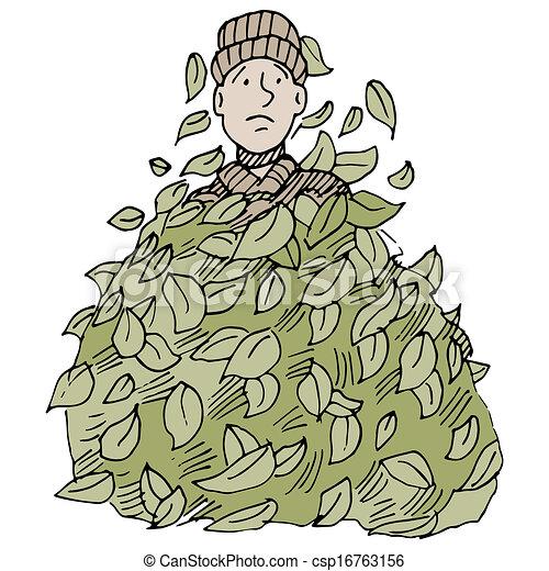 Leaf Pile An Image Of A Man Buried Under A Leaf Pile
