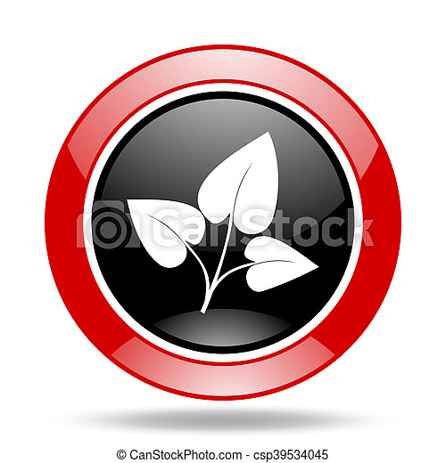 leaf red and black web glossy round icon - csp39534045