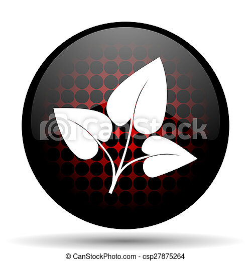 leaf red glossy web icon - csp27875264