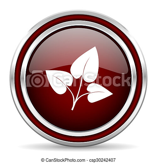 leaf red glossy web icon - csp30242407