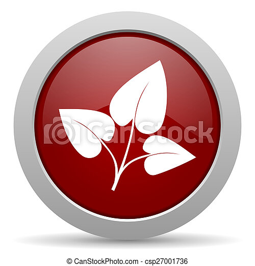 leaf red glossy web icon - csp27001736