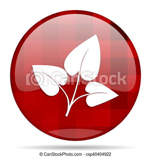 leaf red round circle glossy modern design web icon - csp40404922