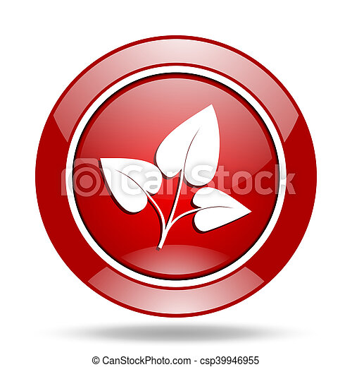 leaf red web glossy round icon - csp39946955