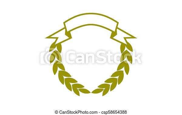 Leaf Ribbon Shield Template Blank