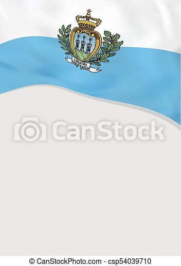 Leaflet design with flag of san marino. vector template.