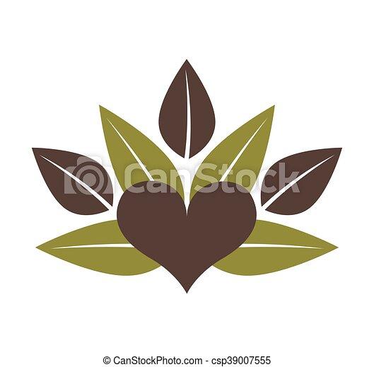 leafs healthy heart food menu icon - csp39007555