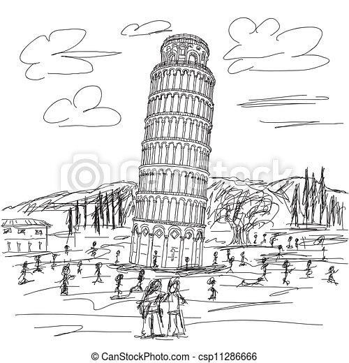 Kleurplaten Pyse Hand Drawn Illustration Of Famous Tourist Destination