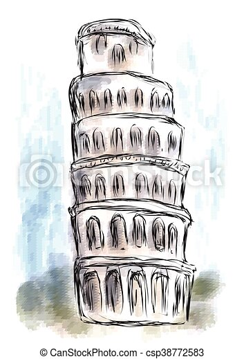 leaning tower of pisa - csp38772583