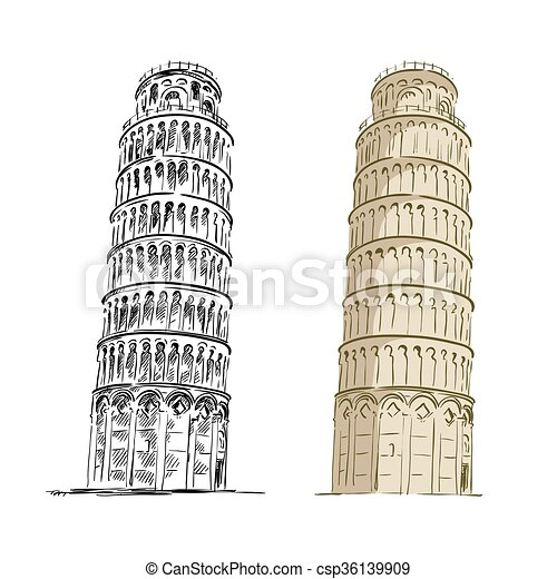 Leaning tower of Pisa - csp36139909