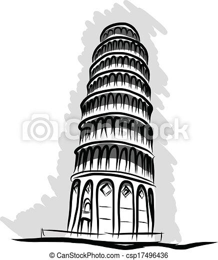leaning tower Pisa, sketch vector - csp17496436