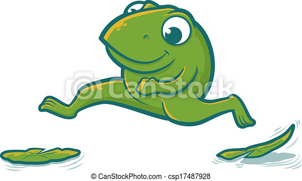 leaping frog cute toad character hopping on lily pads vector rh canstockphoto com frog and toad are friends clipart