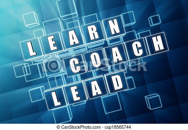 learn, coach, lead in blue glass cubes - csp18565744