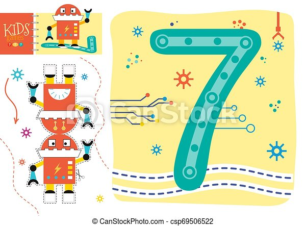 Learn How To Write Number 7 For Preschool Kids Vector Illustration Game Cut And Glue Robot Toy And Wallpaper With Counting