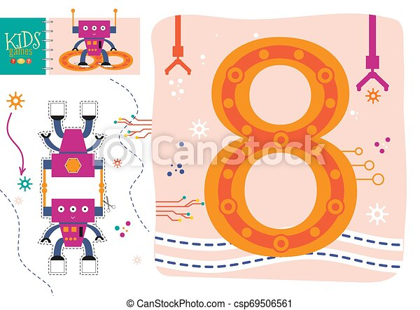 Learn How To Write Number 8 For Preschool Kids Vector Illustration Game Cut And Glue Robot Toy And Wallpaper With Counting