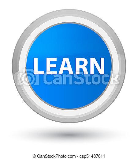 Learn prime cyan blue round button - csp51487611
