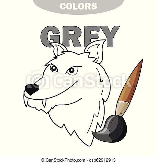 Learn The Color Gray - wolf - coloring book