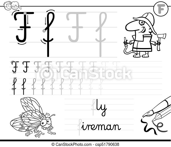 Learn To Write Letter F Workbook For Kids Black And White Cartoon