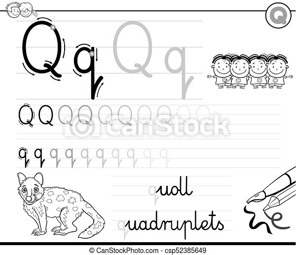 Learn To Write Letter Q Workbook For Kids Black And White Cartoon
