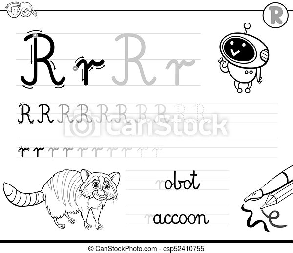 Learn To Write Letter R Workbook For Kids   Csp52410755