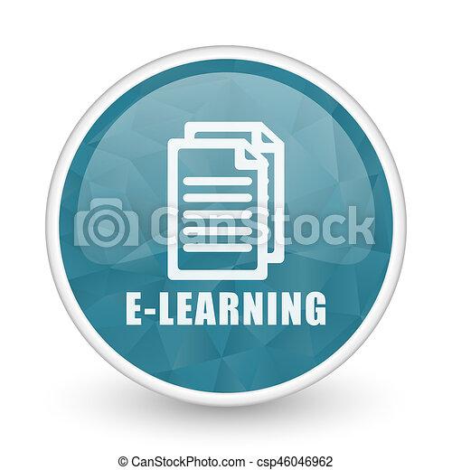 Learning brillant crystal design round blue web icon. - csp46046962