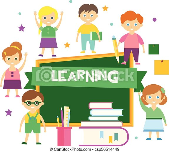 Learning Happy Schoolkids And Blackboard Kids Education Concept Vector Illustration On A White Background Learning Happy