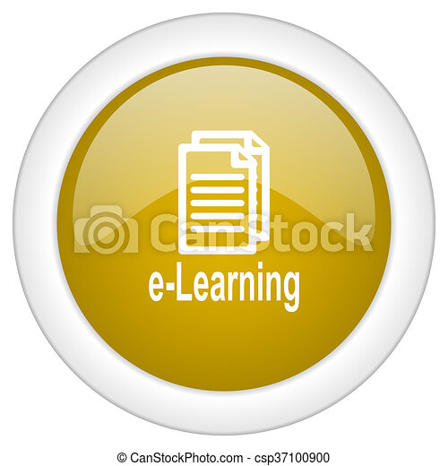 learning icon, golden round glossy button, web and mobile app design illustration - csp37100900