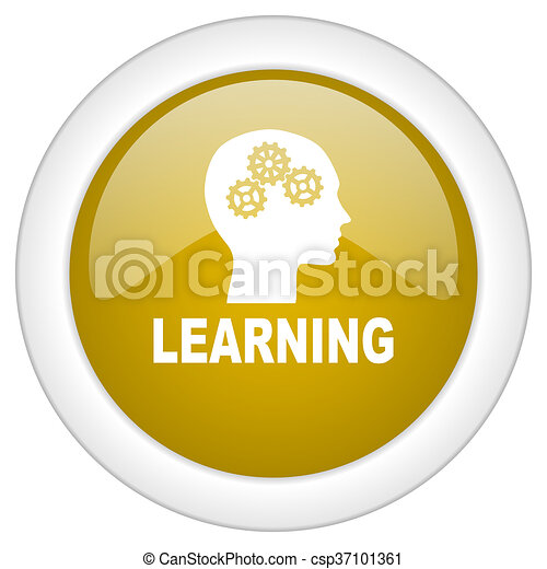 learning icon, golden round glossy button, web and mobile app design illustration - csp37101361